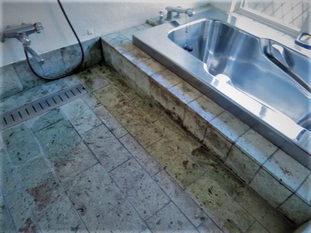 伊豆石浴室では、黒いカビが日常清掃では取り切れずのサムネイル