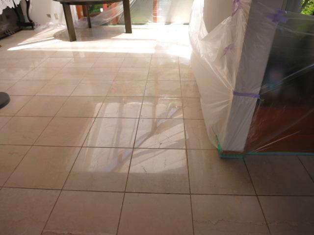 大理石床面の10年振りのコート剤の再塗布のサムネイル