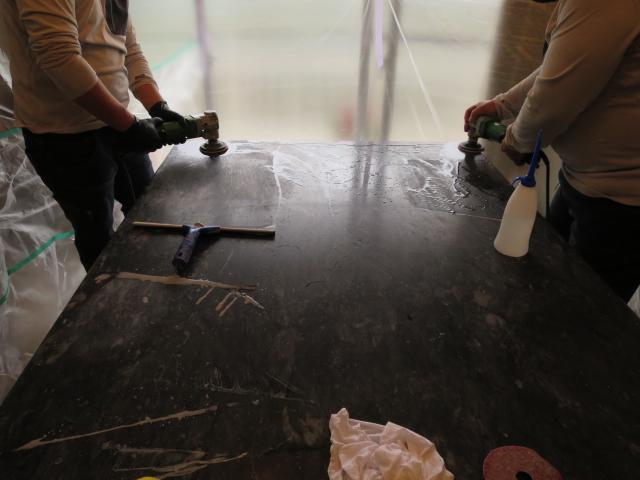 黒大理石のダイヤモンド研磨再生のサムネイル