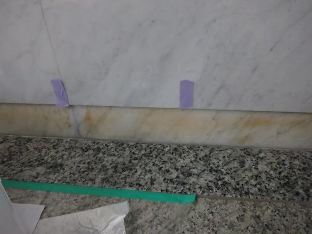 ビアンコ(大理石)の巾木のサビ抜きテスト施工のサムネイル